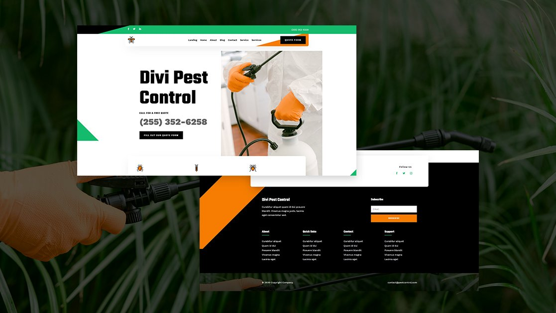 Download a FREE Header & Footer for Divi's Pest Control Layout Pack