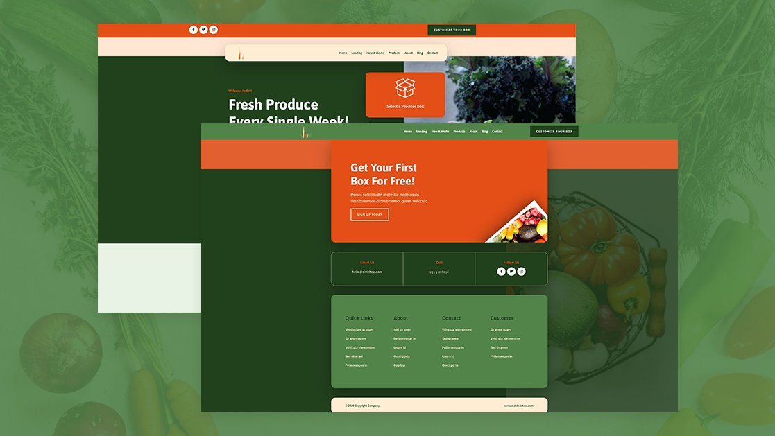 Download a FREE Global Header & Footer for Divi's Produce Box Layout Pack