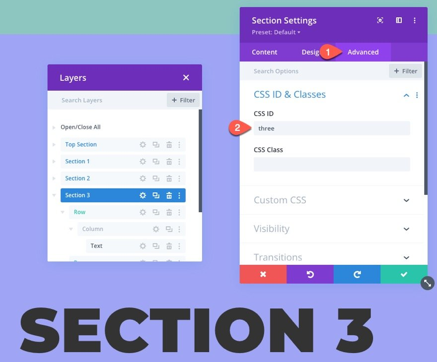 sticky page navigation links to divi sections