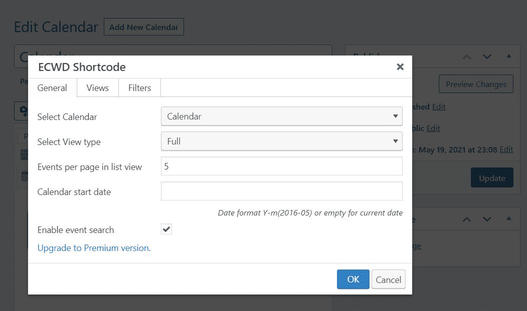 Editing your calendar's shortcode