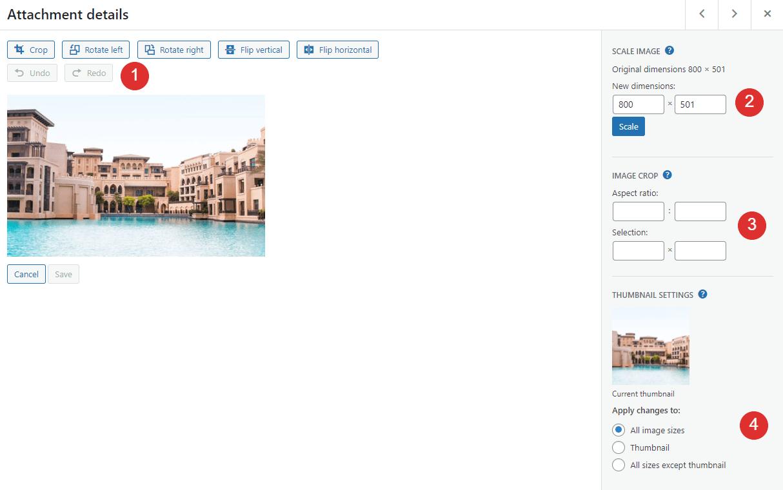 Editing an image in WordPress