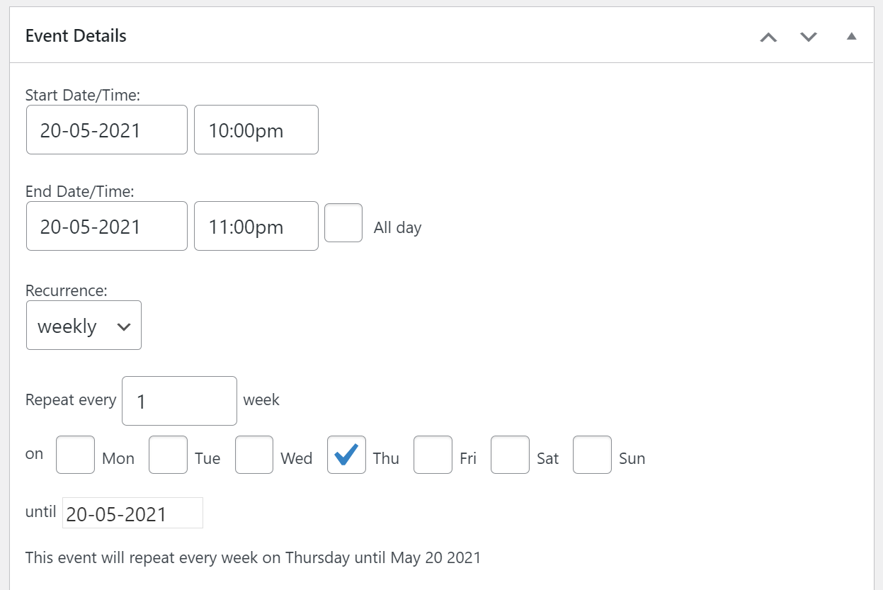Adding a recurring event to your schedule