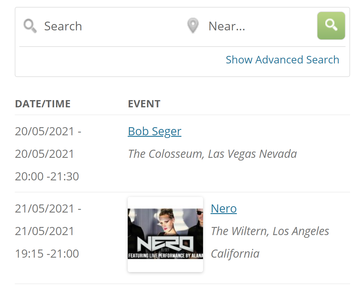An example of an events page in WordPress