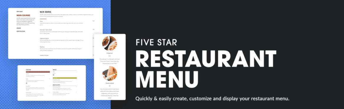 The Five Star Restaurant Menu plugin