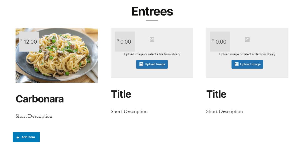 Adding food menu blocks using Gutentor