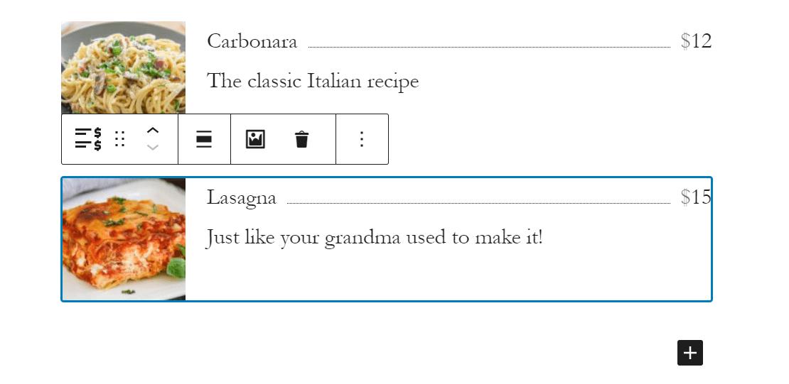 Creating a restaurant menu using Getwid blocks