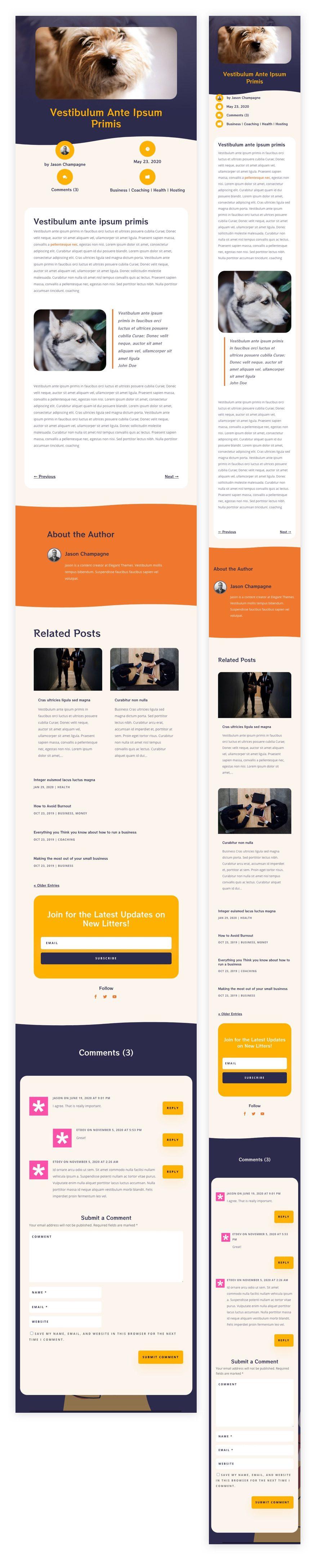 divi dog breeder blog post template