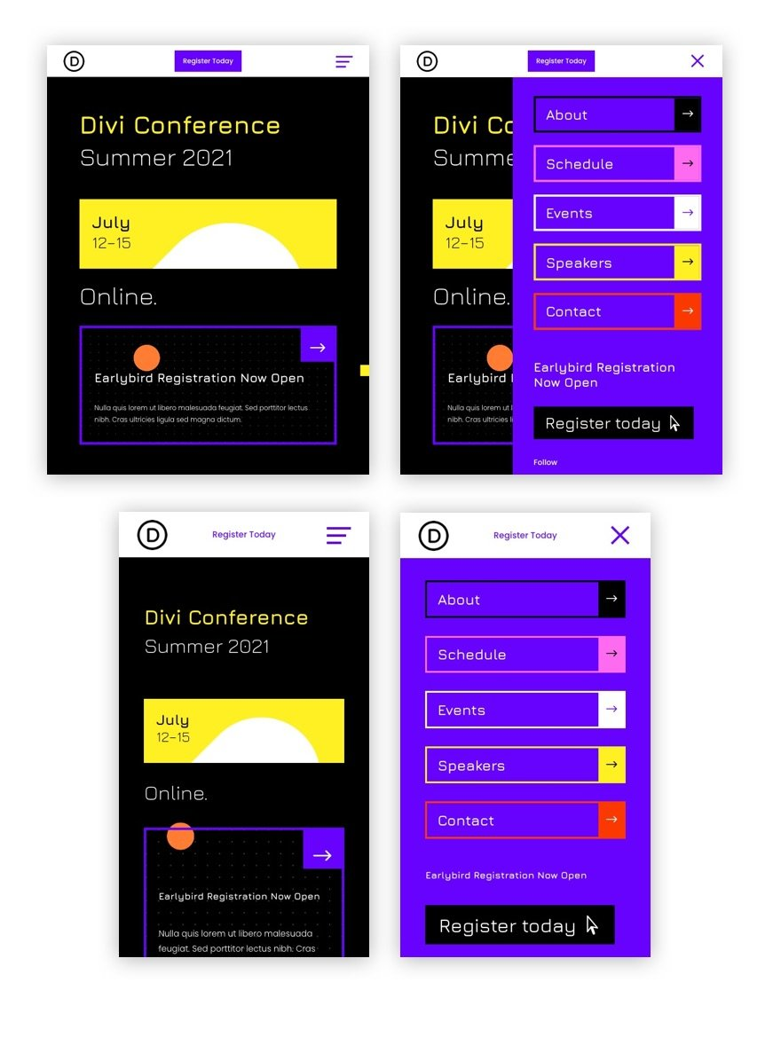 divi virtual conference header footer template
