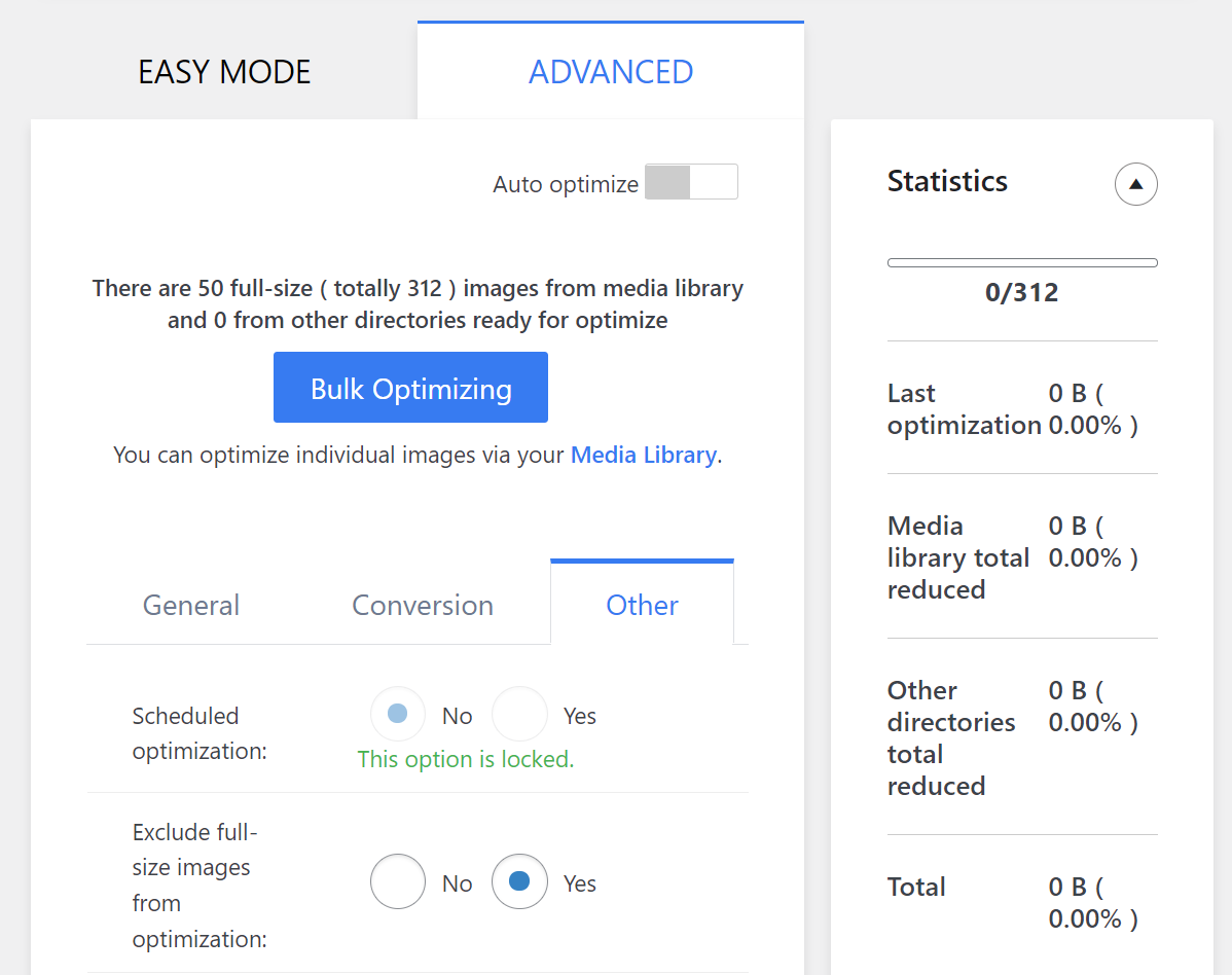 The Image Optimizer plugin's advanced settings