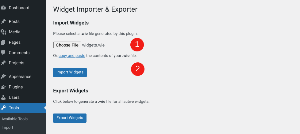 The option to import the widgets file in WordPress.