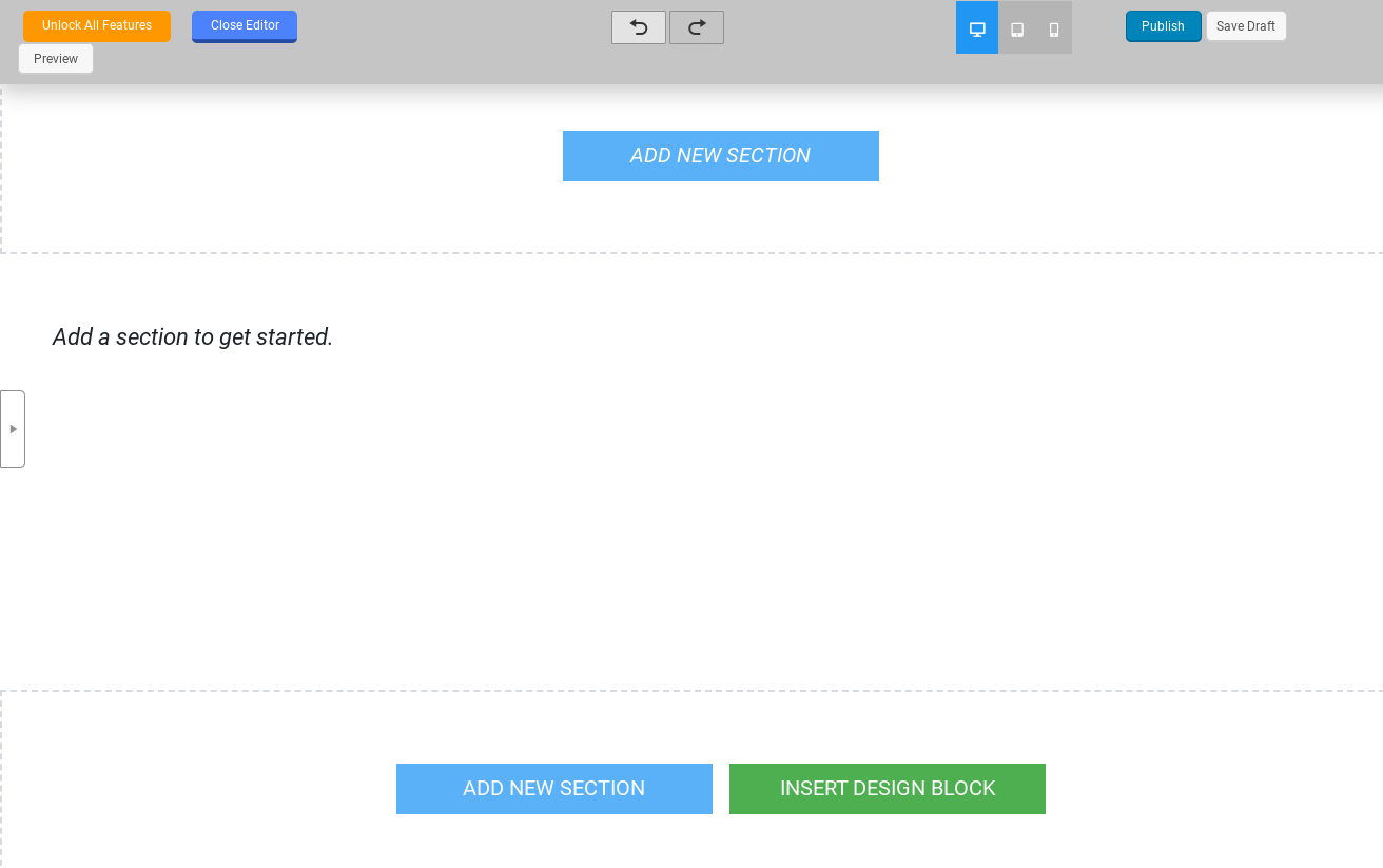 The Landing Page Builder editor.