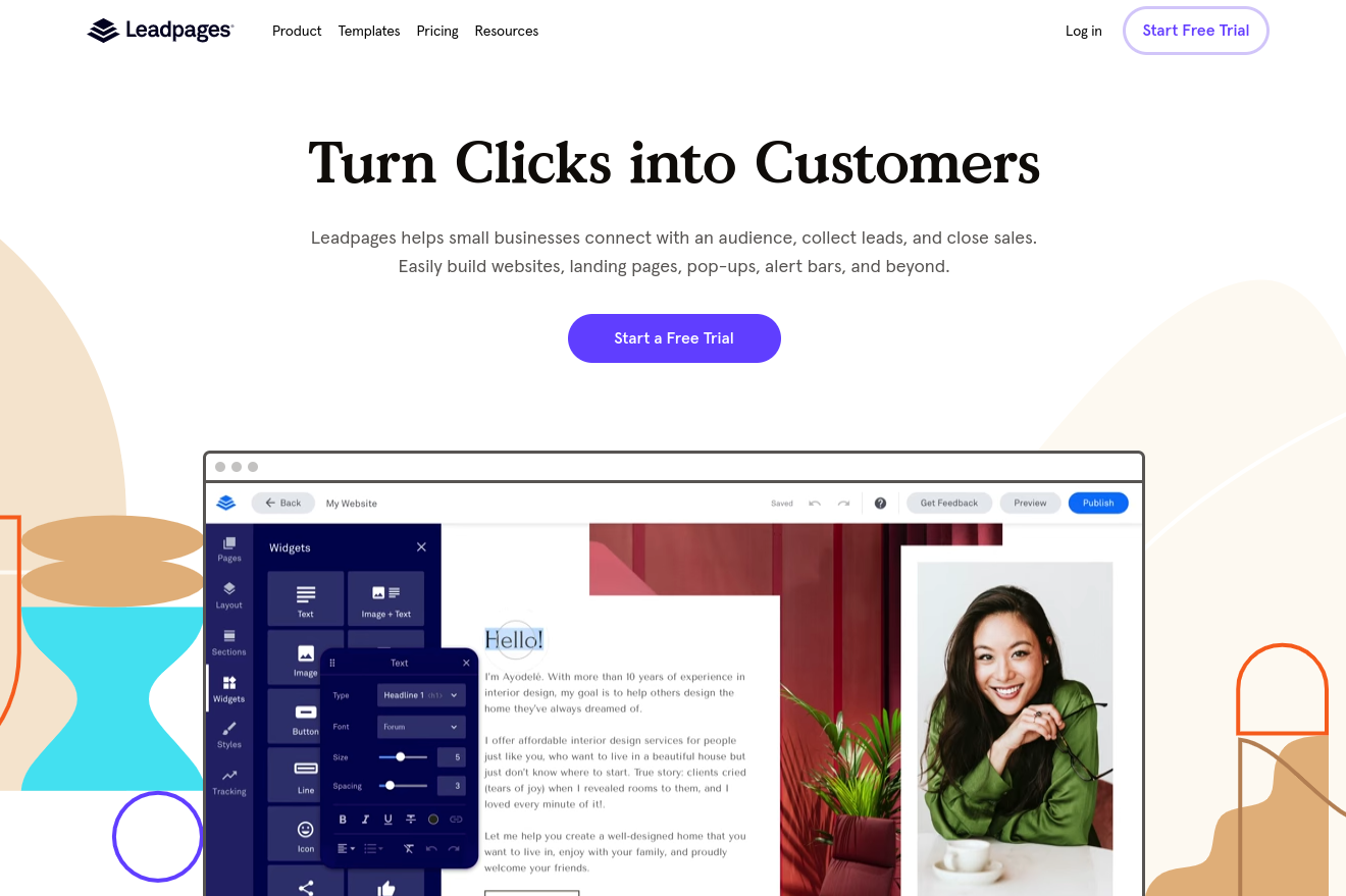 The Leadpages website.