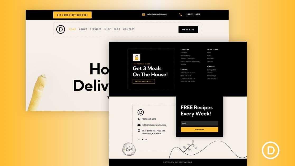 Download a FREE Header and Footer for Divi's Meal Kit Layout Pack