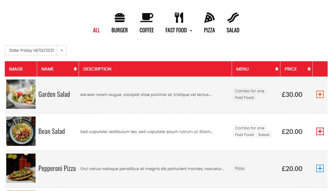 A table-based restaurant menu in WordPress