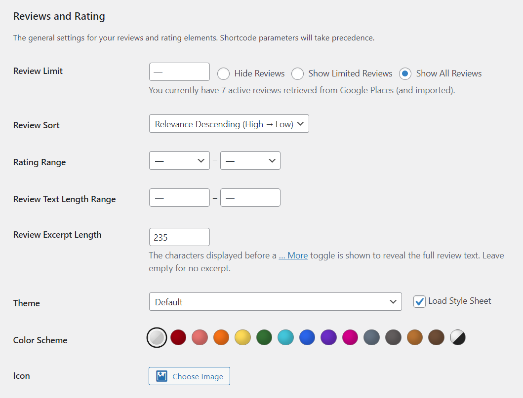 Customizing the style of your Google reviews