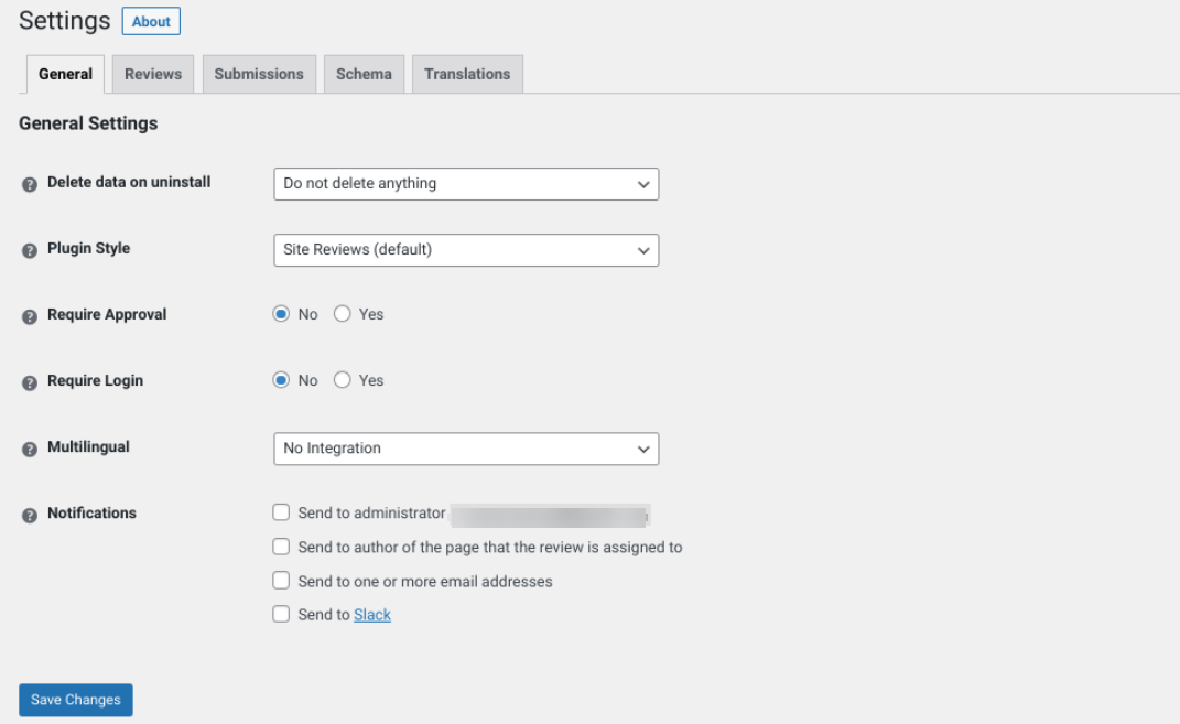 The Site Reviews settings page.