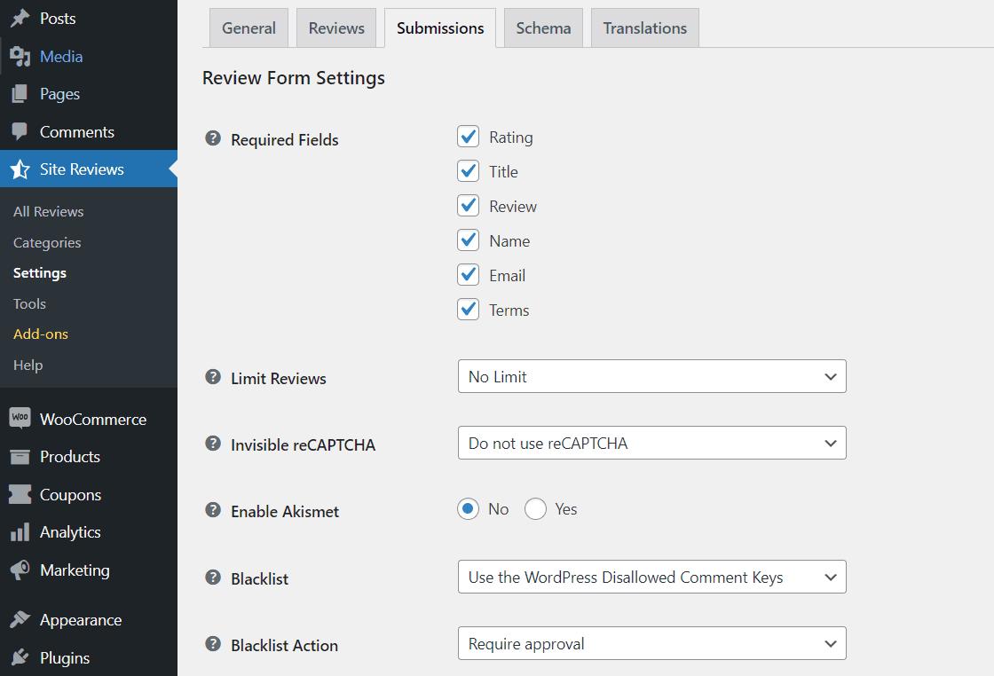 The default Site Reviews form fields