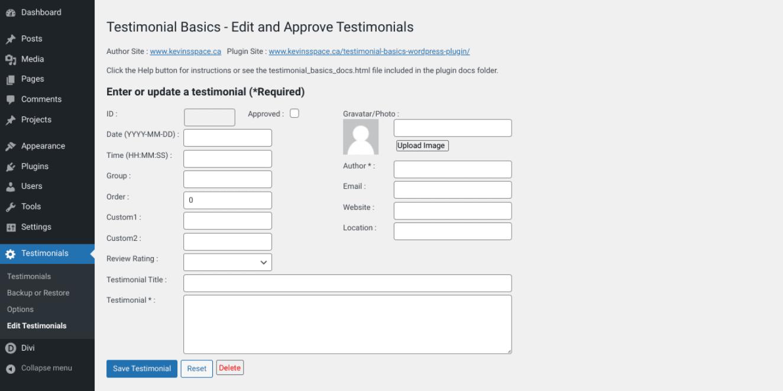 The Testimonial Basics plugin settings page.