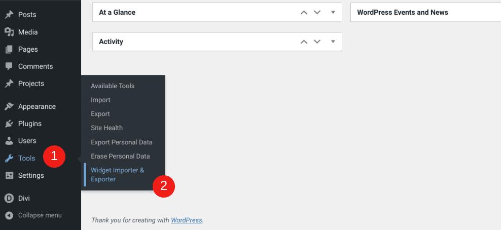 The Tools > Widget Importer& Exporter menu item in WordPress.
