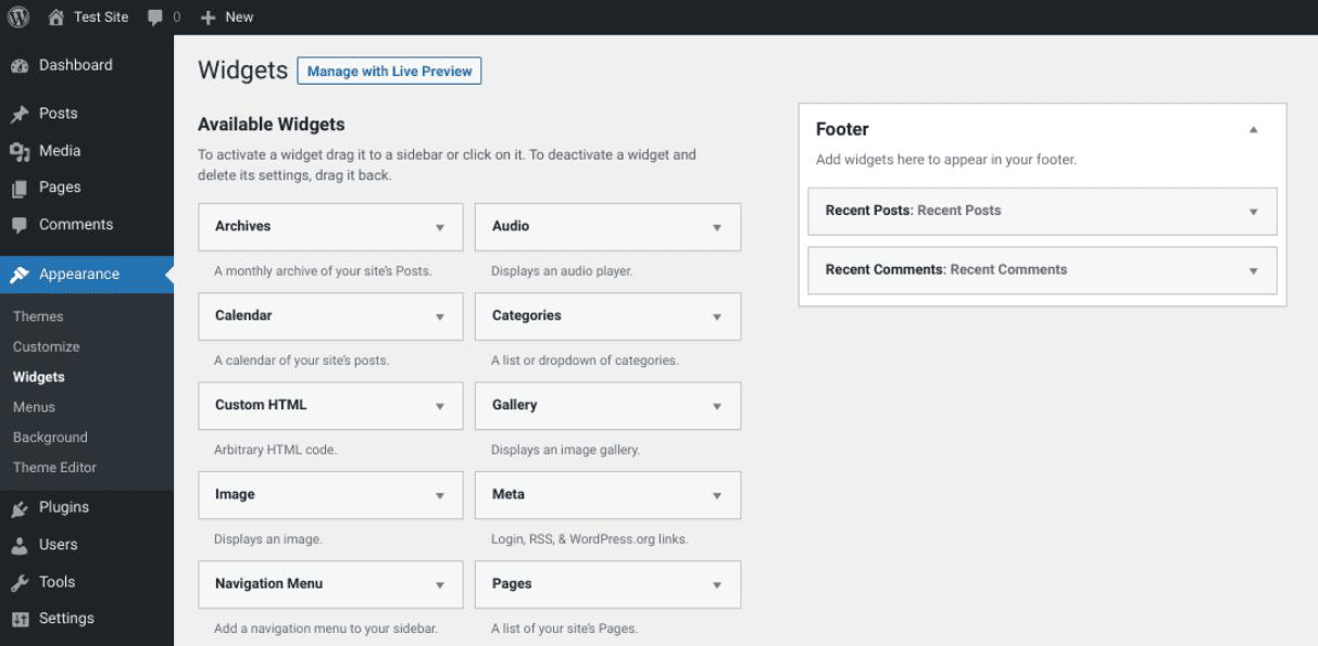 The widget screen of the WordPress Twenty Twenty-One theme.