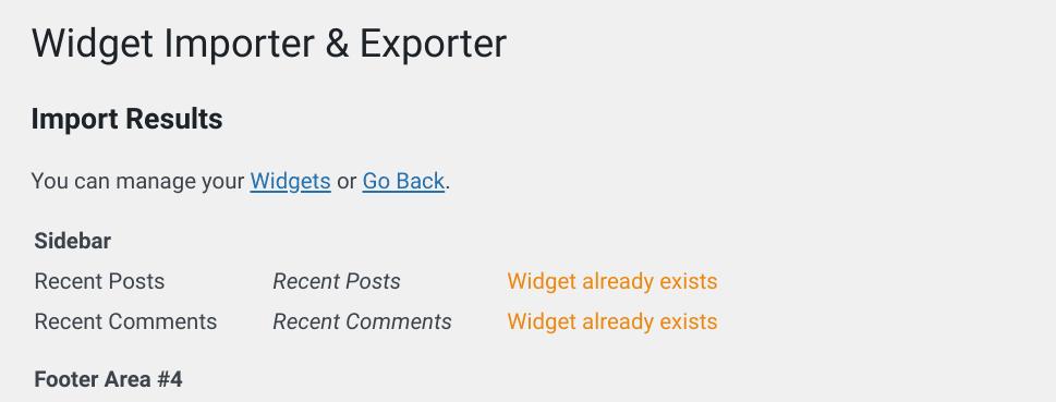 The 'Widget already exists' notification from the Widget Importer & Exporter plugin.