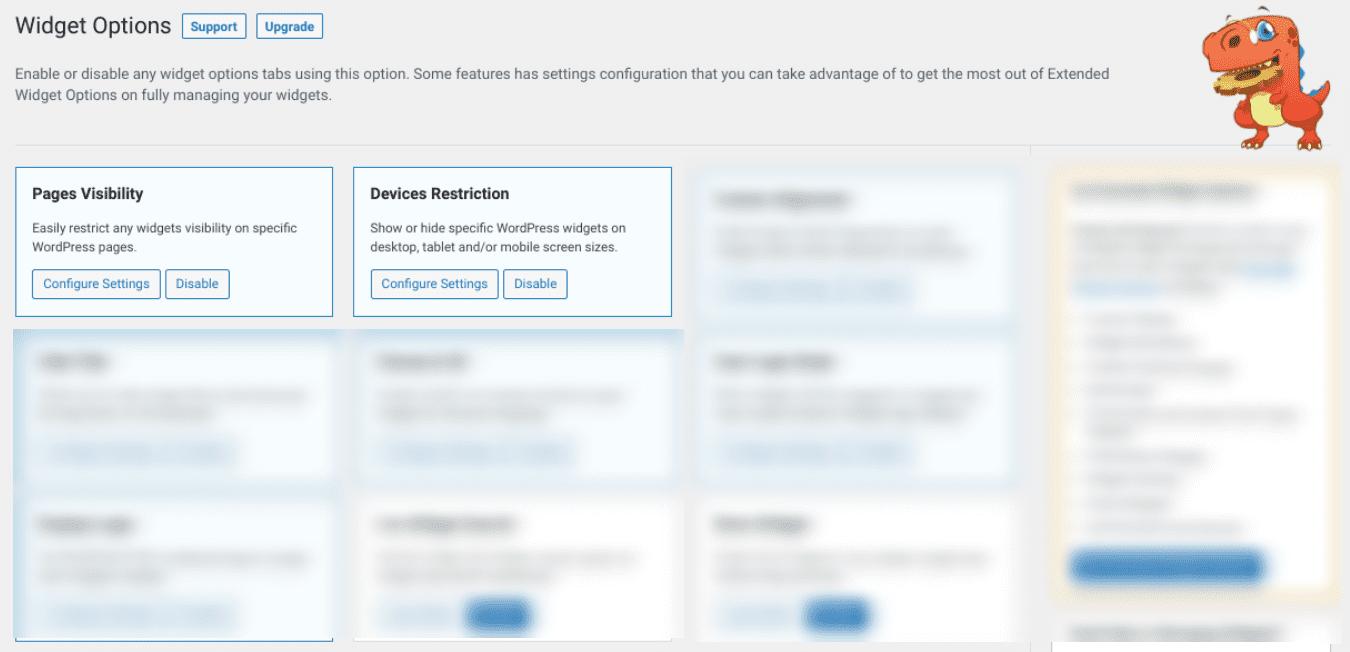 The settings screen of the Widget Options plugin.