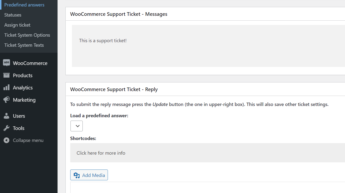 Replying to a WooCommerce support ticket