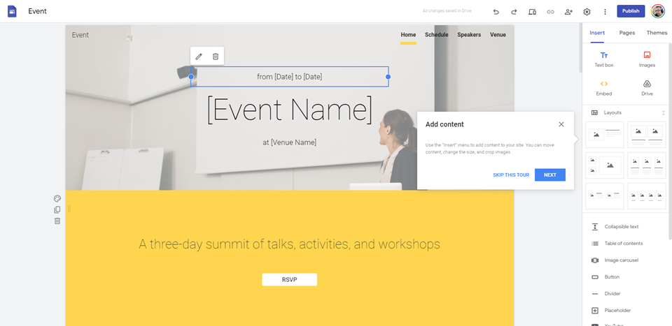 google sites event page