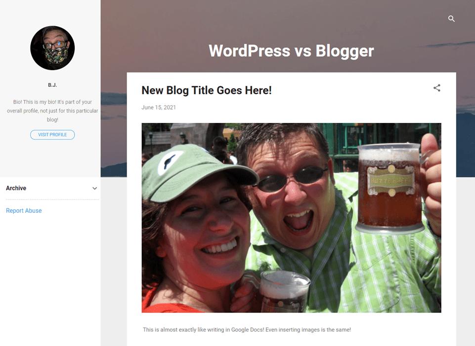 wordpress vs blogger post appearance