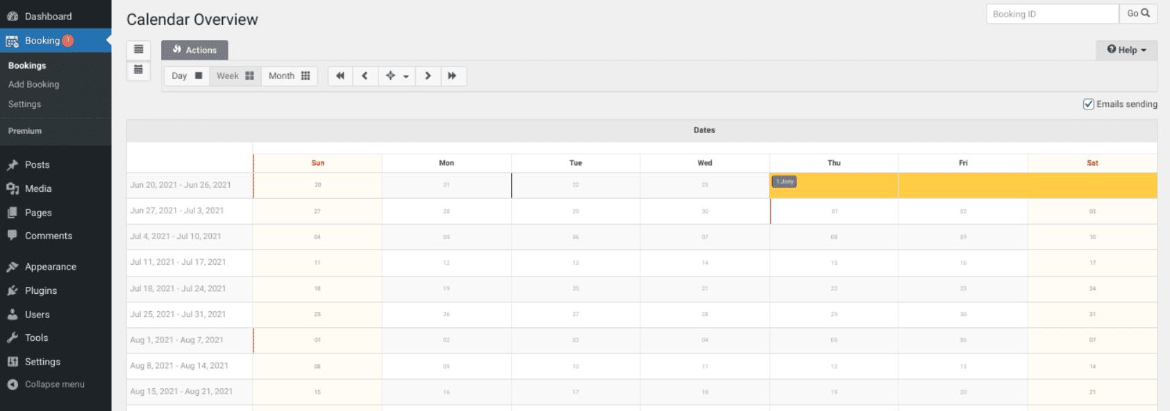 The Booking Calendar plugin dashboard.