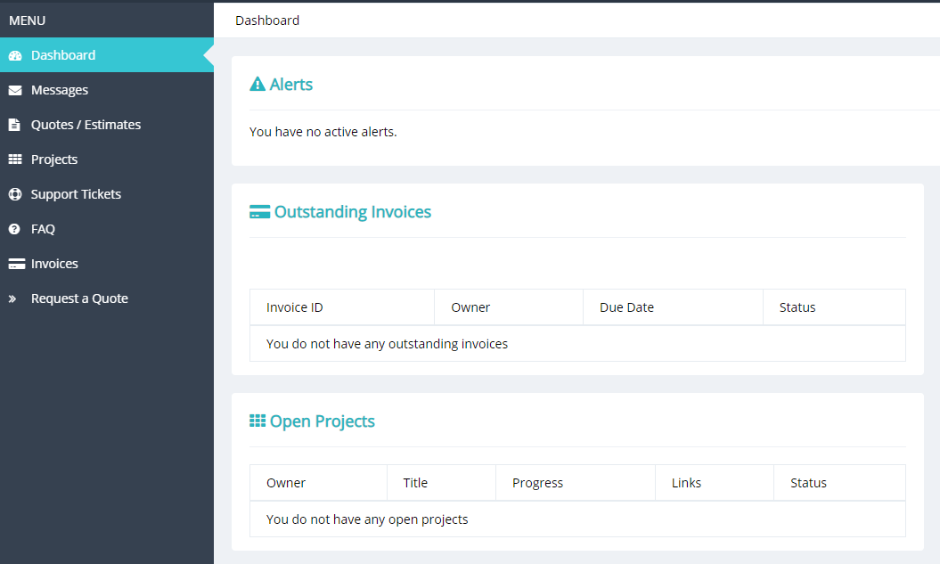 The Projectopia client dashboard