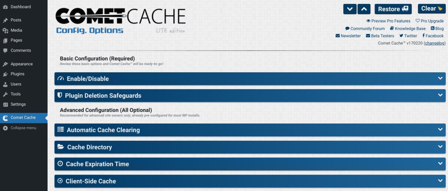 The Comet Cache plugin settings.