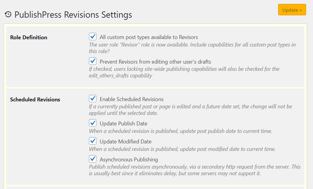 Configuring permissions for revisors
