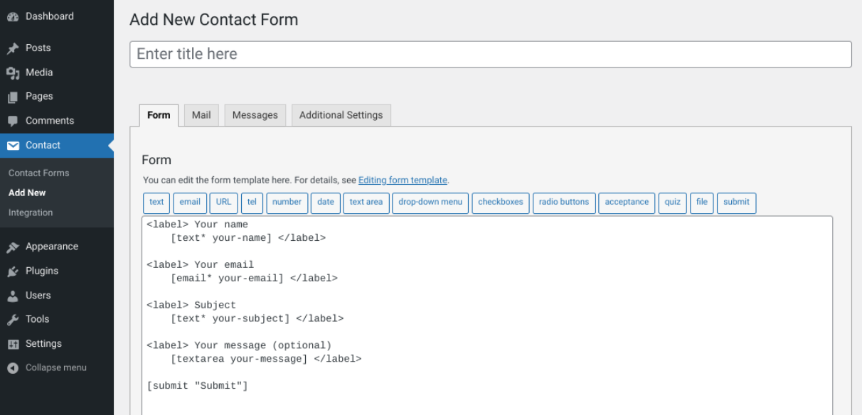 Creating a new contact form with Contact Form 7.