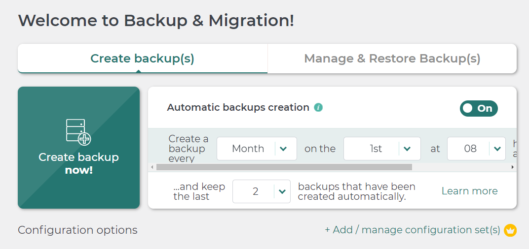 Configuring Backup settings