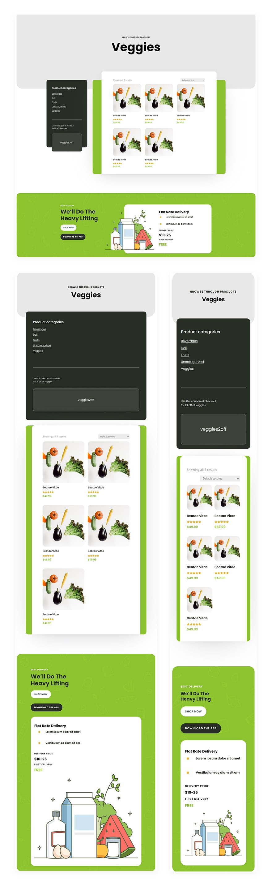 grocery delivery product category page template