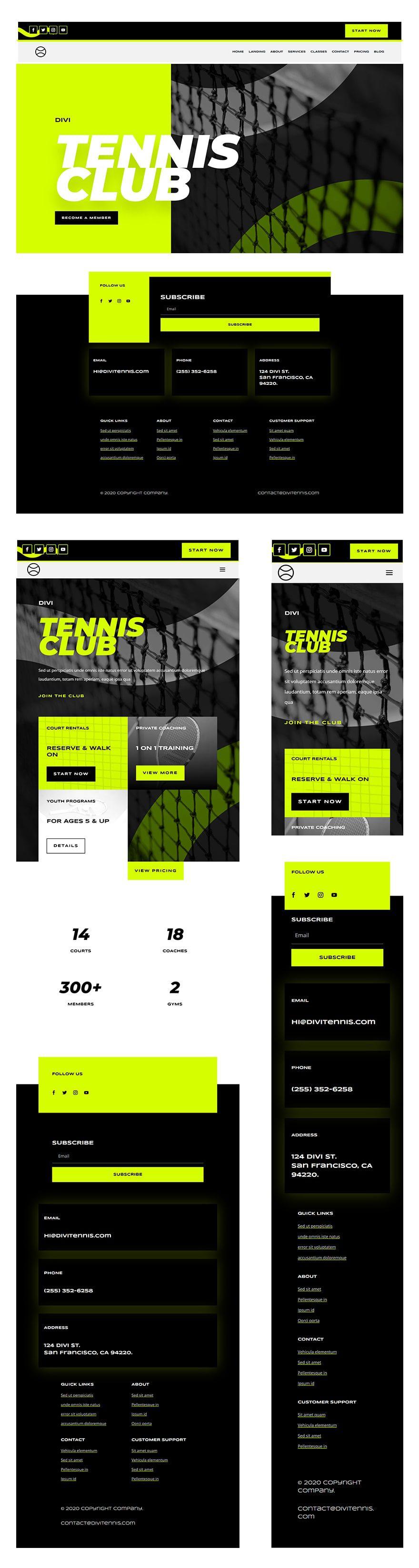 tennis club header footer