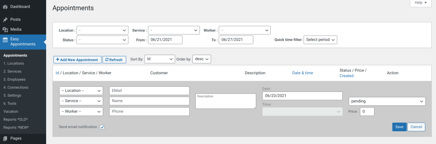The Easy Appointments plugin interface.
