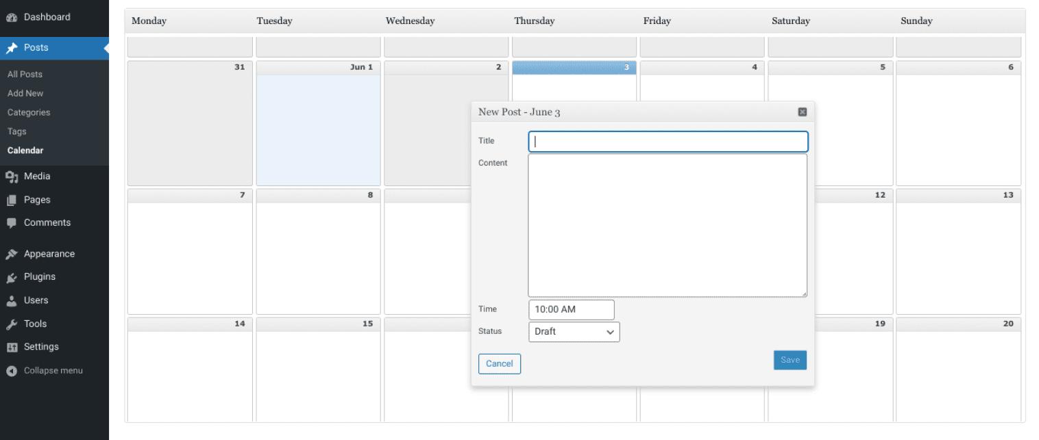 The Editorial Calendar plugin settings.