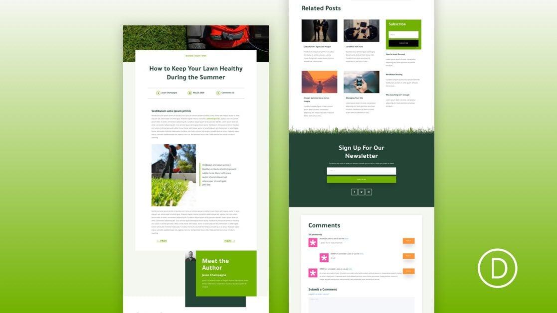 Download a FREE Blog Post Template for Divi's Landscape Maintenance Layout Pack