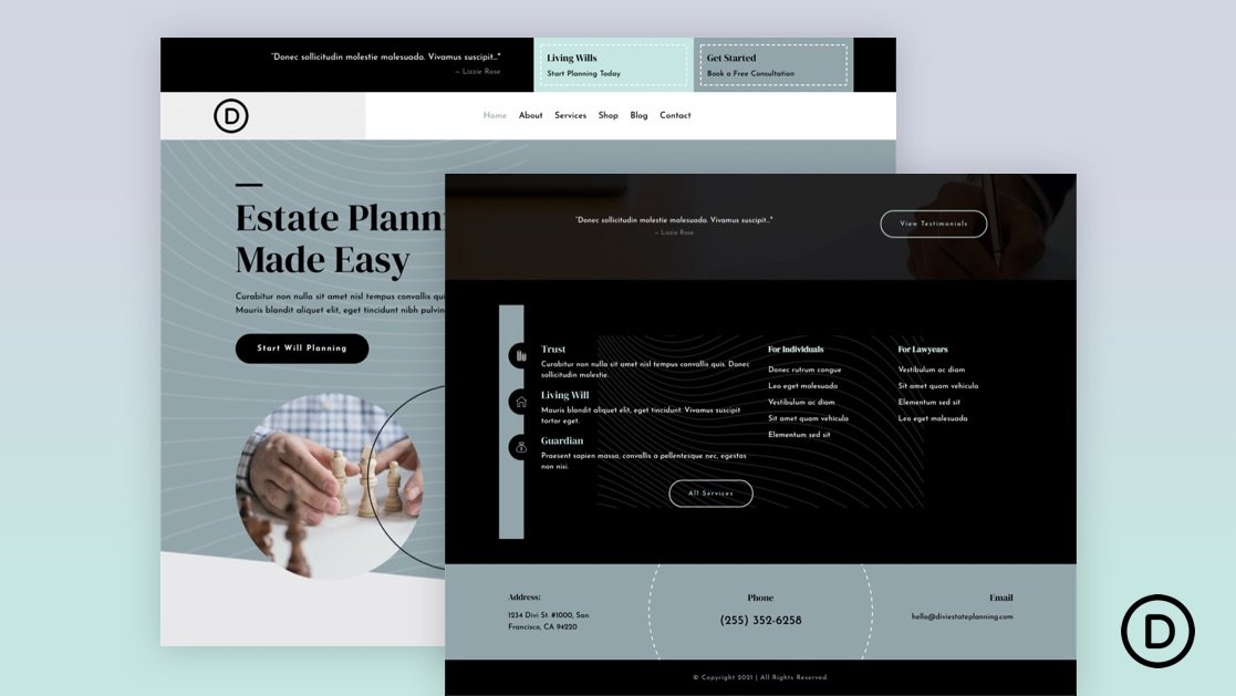Download a FREE Header and Footer Template for Divi's Estate Planning Layout Pack