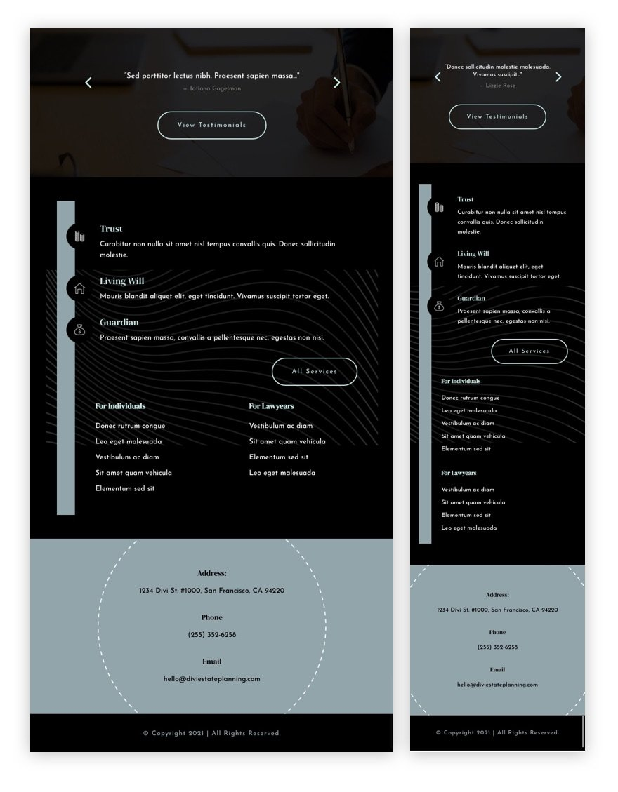 header & footer template for Divi's Estate Planning Layout Pack
