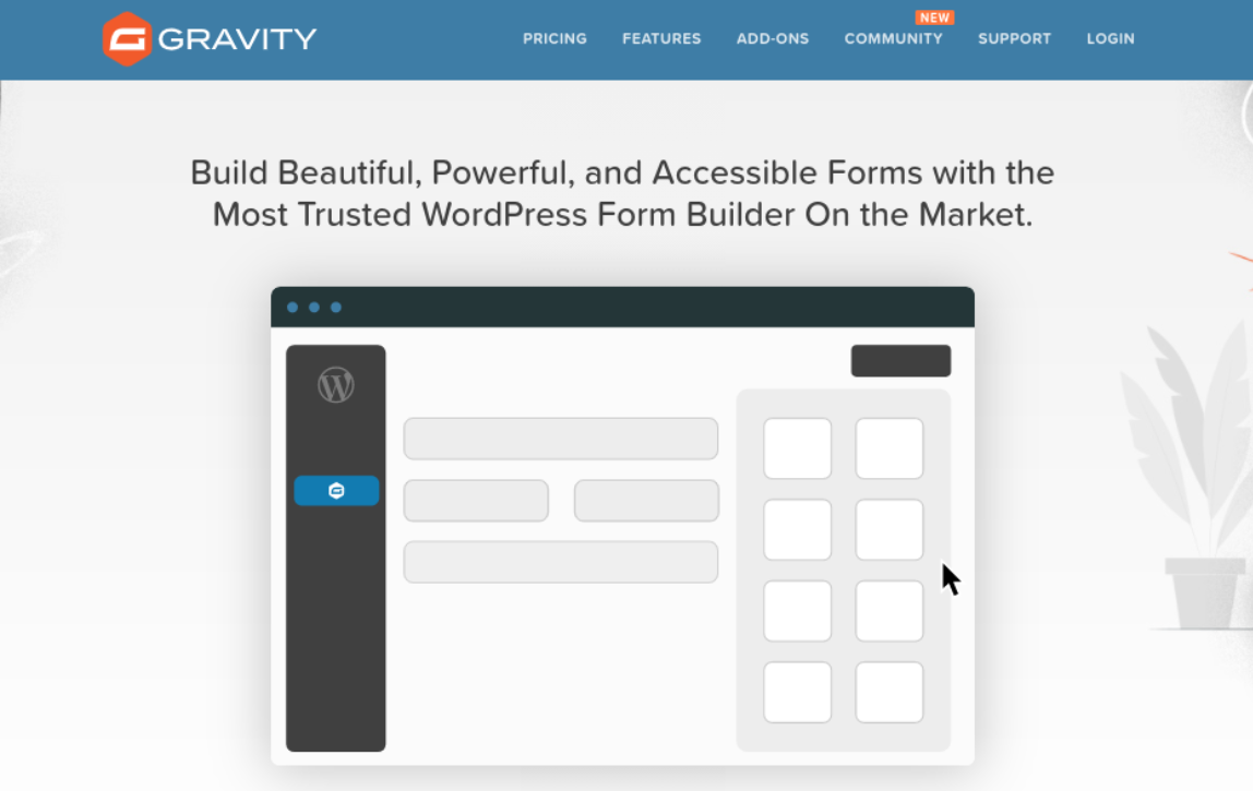 The Gravity Forms website.