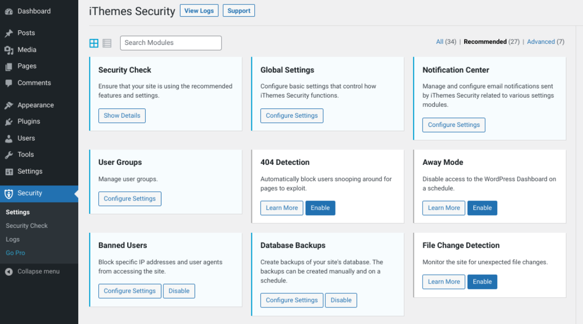 The iThemes Security plugin settings.