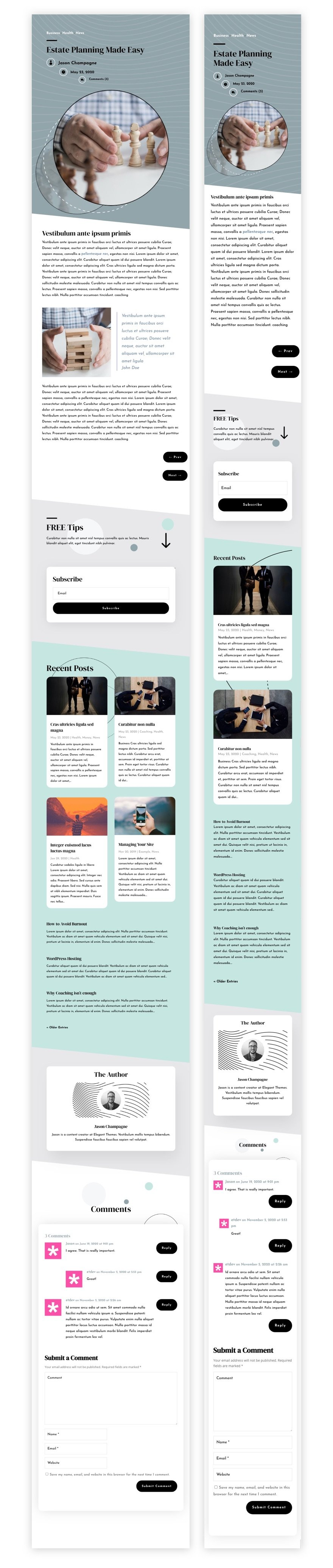 blog post template for Divi's Estate Planning Layout Pack