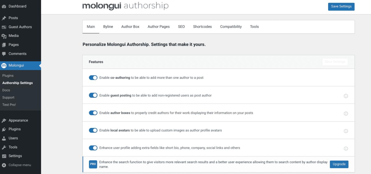 The Molongui Author Box plugin settings.