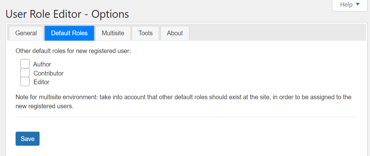 Setting a default user role for a multisite network