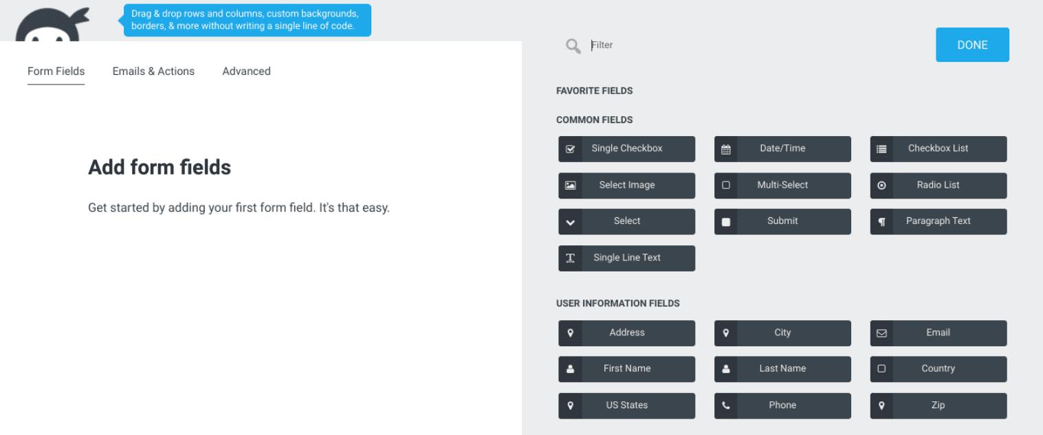 The Ninja Forms plugin interface.