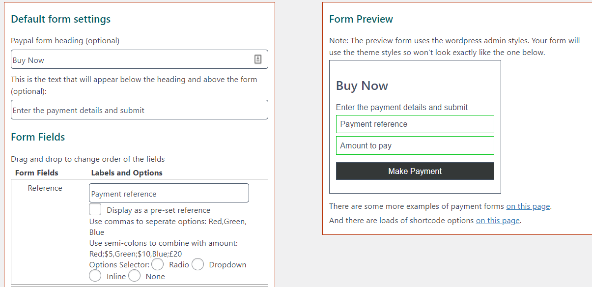 An example of a PayPal payment form