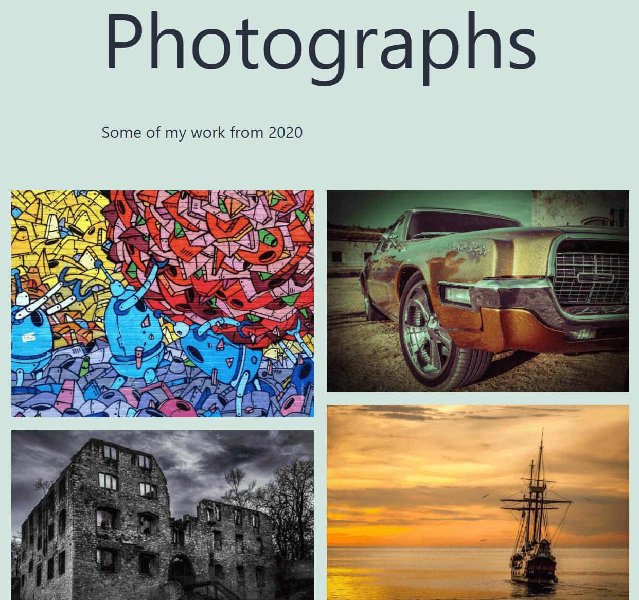 An example of a photography portfolio